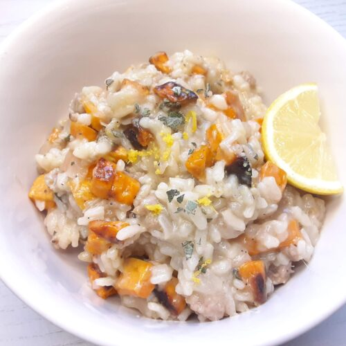 easy sweet potato risotto recipe with fresh sage