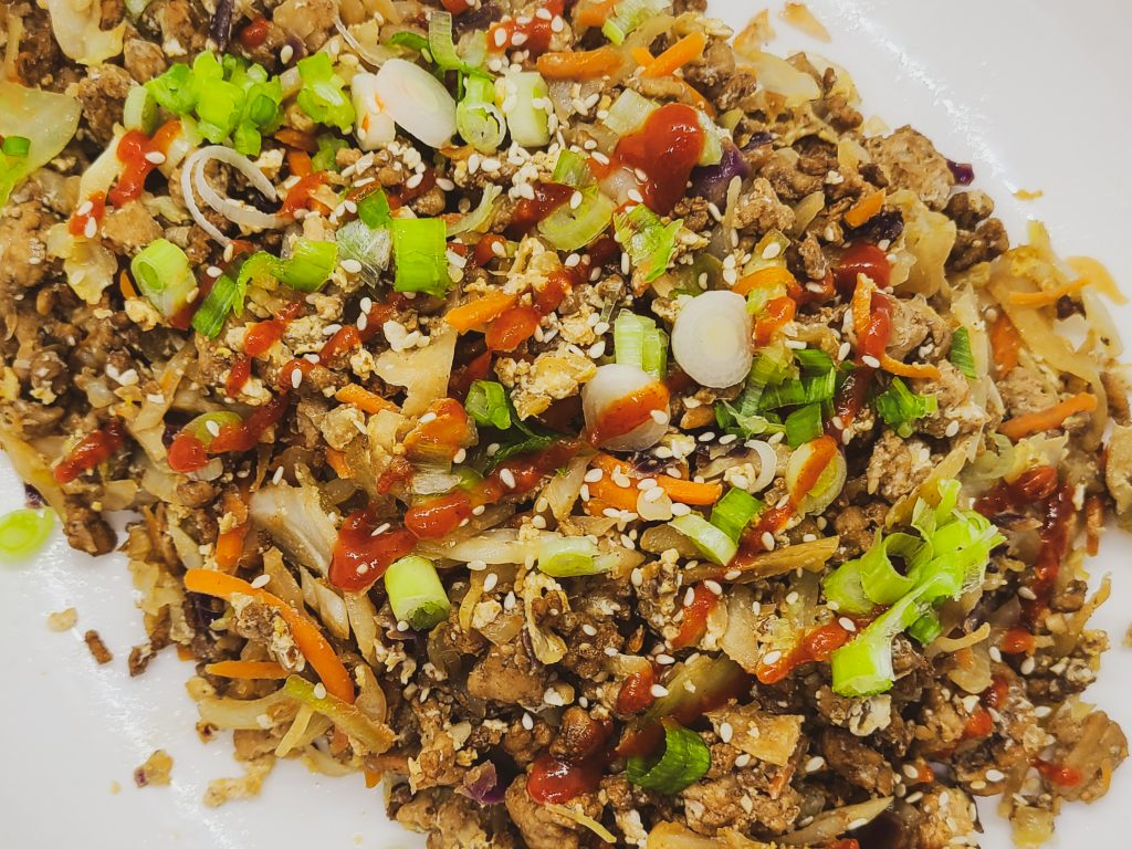 keto egg roll in a bowl recipe with cabbage and pork