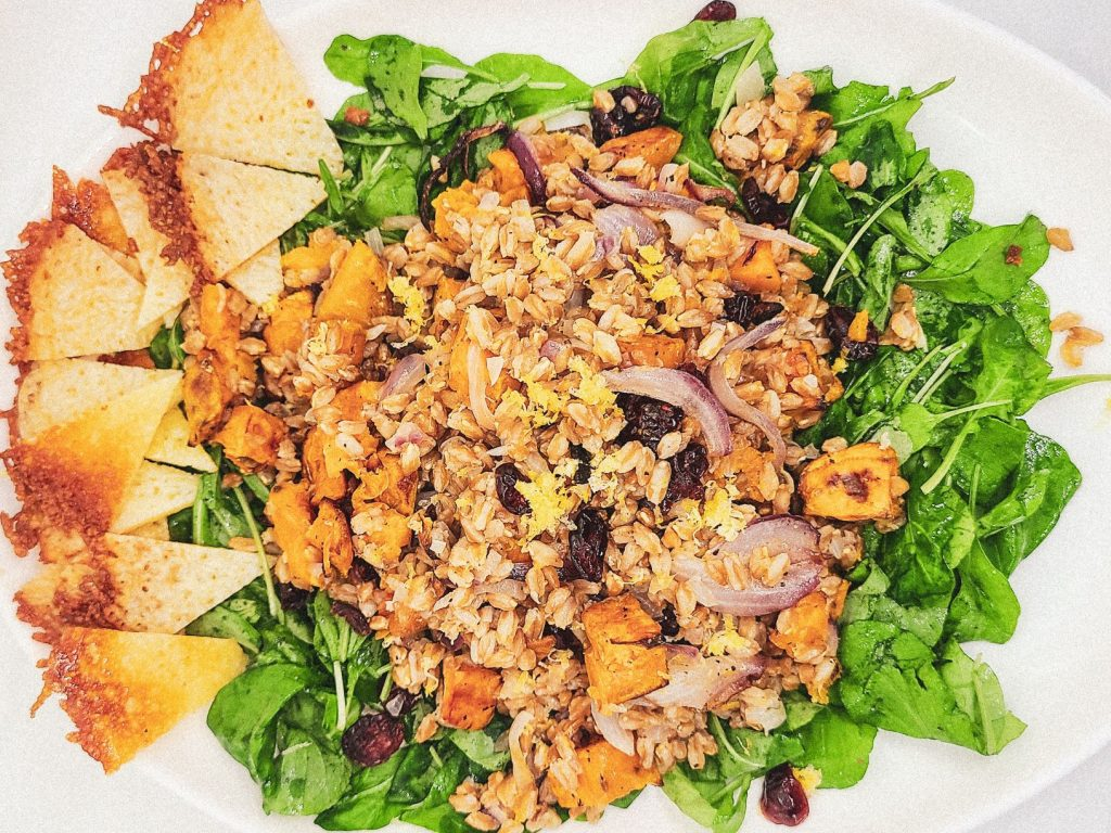 farro arugula salad with sweet potato recipe