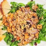 farro arugula salad with sweet potato recipe