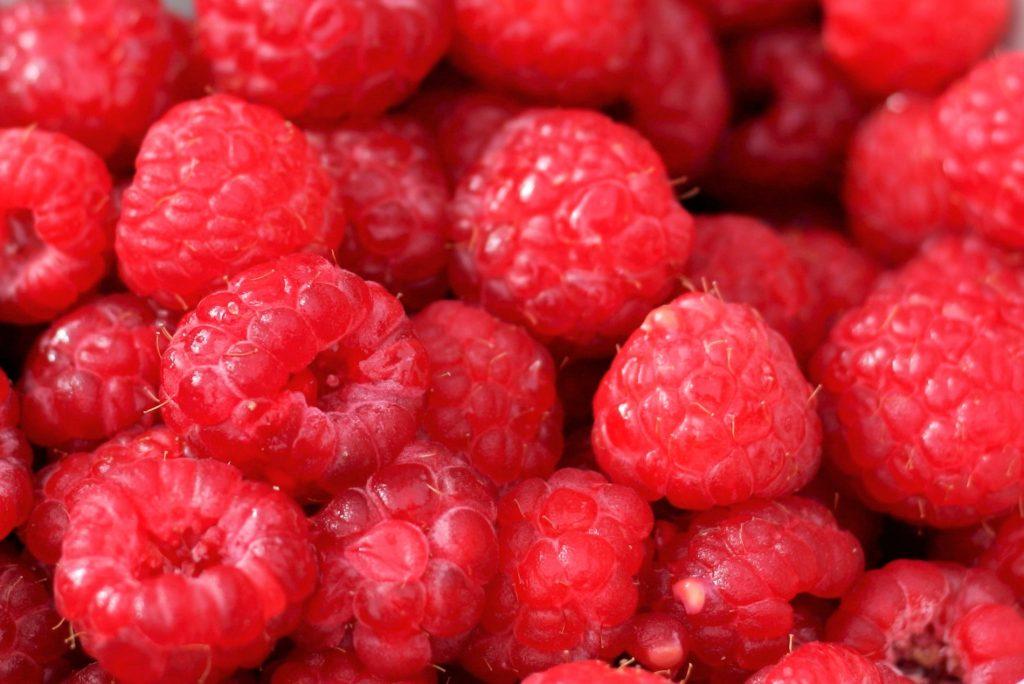 bushel of red raspberries in container